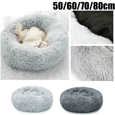 S-XL Pet Dog Cat Calming Beds Comfy Shag Warm Fluffy Bed Nest Mattress Donut Pad • 11.99£