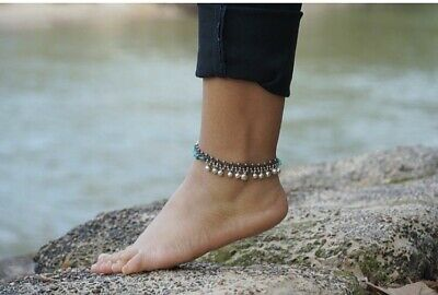 £24.99 • Buy Turquoise Silver Bell Boho Anklet