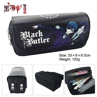 Anime Black Butler Double Layer Zipper Pen Bag Pencil Case Toy Gift Kids School • 7.99£