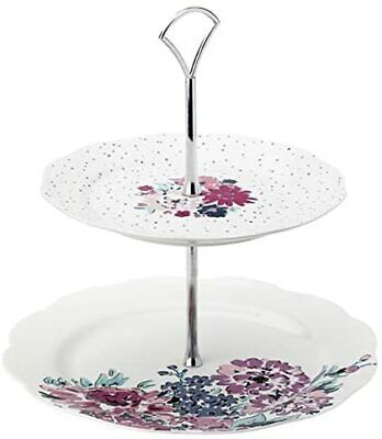Ashley Thomas Vintage Inspired Two Tier Porcelain Cake Stand • 24.95£