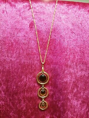 Gold Tone Necklace 20  With Tiger's Eye Gemstone Pendant, Excellent Condition.  • 1.99£