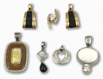 $ CDN37.48 • Buy Lot 7 Lia Sophia Gold & Silver Tone Mother Of Pearl CZ Crystal Slides Pendants