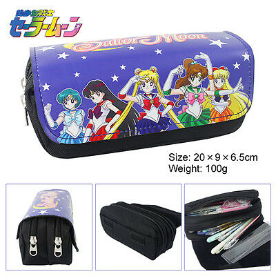 Anime Sailor Moon Double Layer Zipper Pen Bag Pencil Case Toy Gift Kids School • 7.95£