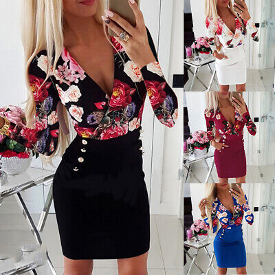 Womens Sexy Floral Bodycon Mini Dress Ladies Evening Party Long Sleeve Dresses • 11.09£