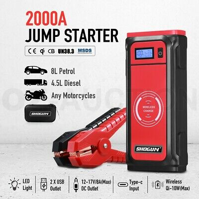AU135.95 • Buy 59.2Wh Car Jump Starter Wireless Battery Charger Power Bank Booster 2000A
