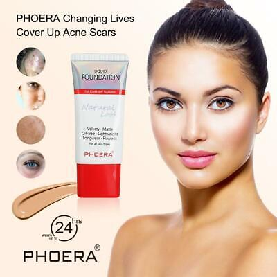 PHOERA Foundation Velvet Liquid Matte CONCEALER ACNE FULL Coverage Long Lasting  • 5.49£