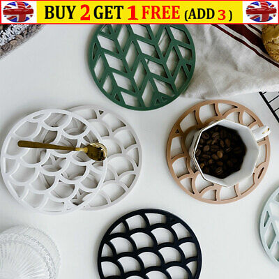 £5.53 • Buy Non Slip Silicone Table Mat Kitchen Hot Pot Heat Resistant Pads Tablemats