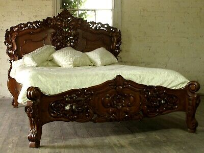 Rococo Antique Carved 6' Super King Size Louis Chateau Mahogany French Bed  NEW • 795£