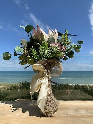 Australian Native Artificial Flower Bouquet With Hessian Wrap And Satin Bow • 31.84£