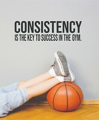 $ CDN15.74 • Buy Consistency Key Fitness Motivation Quotes Vinyl Art Sticker Home Gym Wall Decals