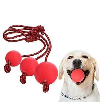 £5.22 • Buy Indestructible Dog Ball Training Toy Pet Chew Toys Solid Rubber Balls With Rope