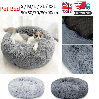 S-XL Pet Dog Cat Calming Bed Comfy Shag Fluffy Warm Bed Nest Mattress Donut Pad • 19.95£