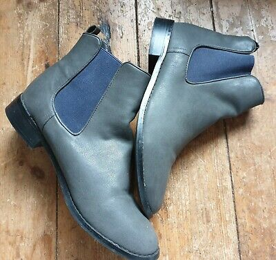 Red Herring Size 8 Dealer Style Grey Leather Slip On Ankle Boots. Elastic Panel. • 25£