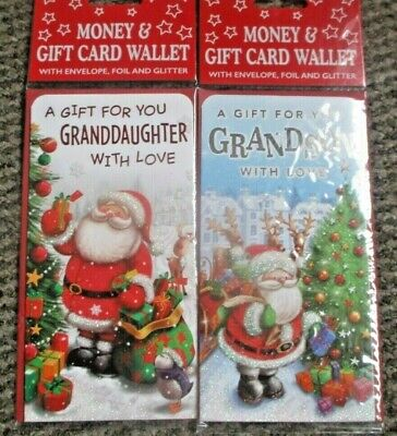 2 Christmas Money Wallets Grandson & Grandaughter Vouchers Gift  • 2.69£