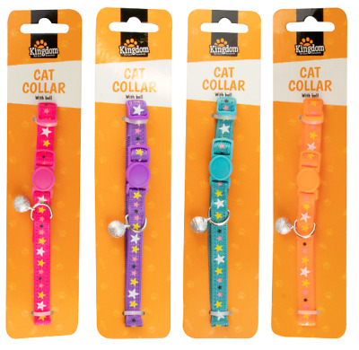 COLOURFUL Adjustable Kitten Collar Bell Tie Cat Colourful Polyester Silver Bell • 2.39£