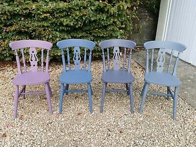 £160 • Buy X4 Multi Coloured Hand Painted Solid Oak  Farmhouse Dining Chairs