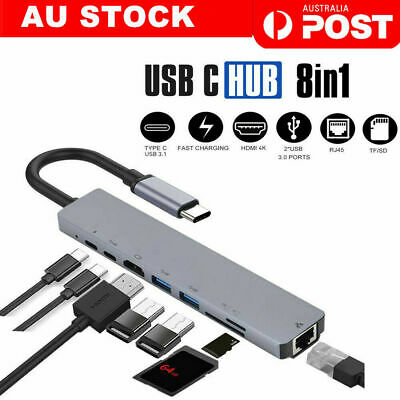 AU34.98 • Buy 8in1 USB-C 3.1 To Type-C USB 3.0 Hub HDMI RJ45 Ethernet Micro SD TF OTG Adapter