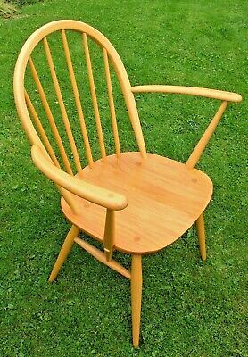 Blond Ercol Windsor Carver Arm Chair Ercol Gold Metal Button A1 Condition • 179.99£