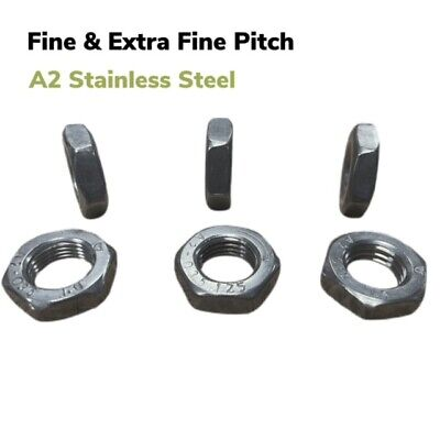 £2.45 • Buy Fine Pitch Hexagon Half Thin Lock Nuts Metric A2 Stainless Thread Extra Fine