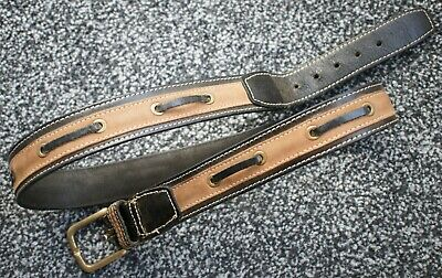 Thomas Burberry - Genuine Leather Vintage Mens Hooped Belt - 36 90 Brass Buckle • 35£