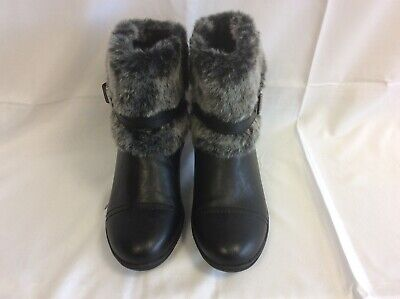 Ladies Black Ankle Boots Faux Fur Trimmed By Pavers  Size 5 NWOB - SD • 7.50£