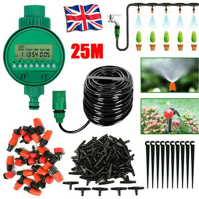 25M Garden Plant Automatic Drip Irrigation System Kit Timer Self Watering Hose • 13.99£