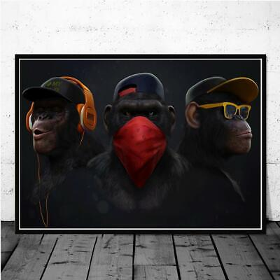 AU30.50 • Buy Dark Wise 3 Monkeys Animal Picture Canvas Wall Art Posters And Prints Home Decor