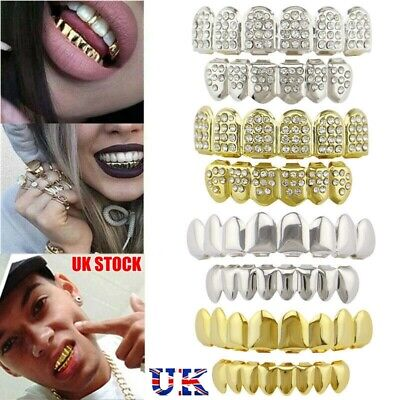 UK New Grillz 24k Plated Diamond Gold Teeth Mouth Grills Bling Diamond Cosplay • 5.29£