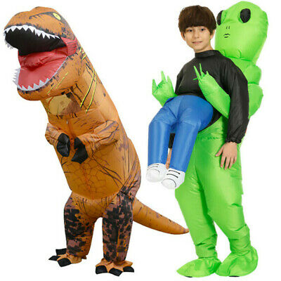 T-REX Dinosaur Green Alien Carrying Adults Kids Inflatable Costume Cosplay Party • 18.79£