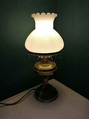 Vintage Bedside Lamp Desk Table Night Lamp White Glass Lampshade Brass Stand 40 • 39.99£