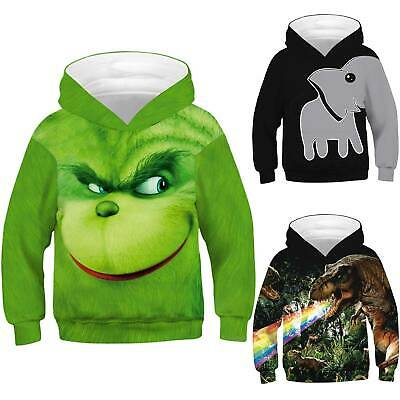 Adult Kid 3D Christmas Hoodie The Grinch Sweater Pullover Sweatshirt Jumper Tops • 15.19£