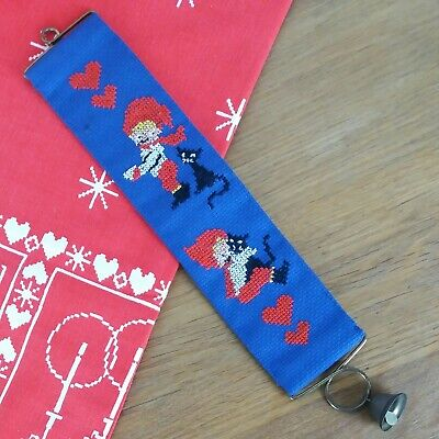Vtg Swedish Danish Scandinavian Christmas Tomte Embroidery Bell Pull Hanger 11  • 4£