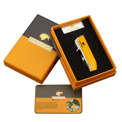 COHIBA Metal Windproof Cigar Lighter 3 Jet Flame Torch With Cigar Punch Gift Box • 16.99£
