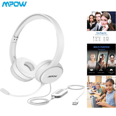 Mpow USB Headset/3.5mm PC Computer Headset With Mic Headphones For Call Center • 19.29£