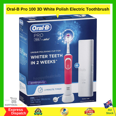 AU49.99 • Buy Oral B Pro 100 3D White Polish Rechargeable Electric Toothbrush Pink - NEW AU