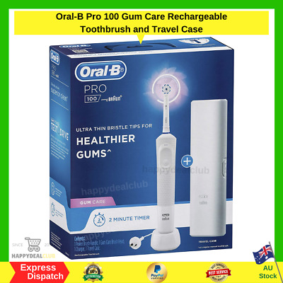 AU48.99 • Buy Oral-B Pro 100 Gum Care Rechargeable Electric Toothbrush And Travel Case NEW AU
