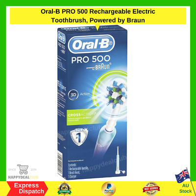 AU59.99 • Buy Oral-B PRO 500 Cross Action – Rechargeable Electric Toothbrush | NEW FREE SHIP