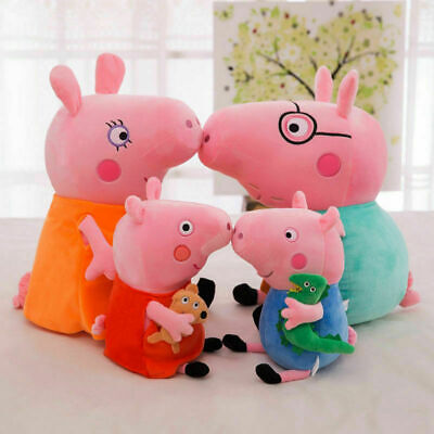 4PCS Peppa Pig Characters Soft Toys Daddy Mummy Peppa George Pig Stuffed Gifts • 4.99£