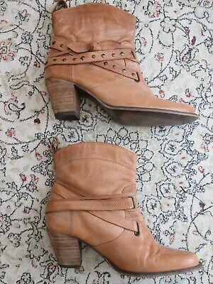 Red Herring Boho LEATHER Ankle BOOTS Studded Straps Size 7UK Cuban Heel 2.5  TAN • 18£