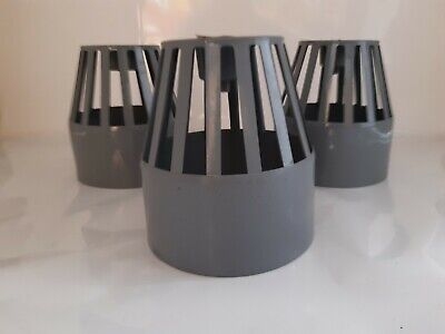 3 X 110mm Soil Vent Terminal Cowl Grey Access Cage Cover Waste Pipe Drain Cap • 6£