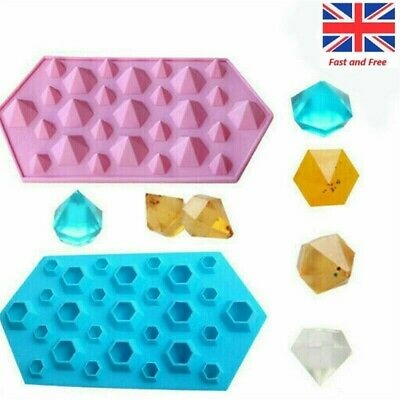 27 Cavity Diamond Crystals Gems Silicone Chocolate Mould Wax Melt Candy Ice Mold • 3.97£