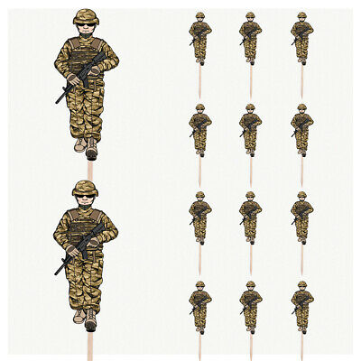 £4.99 • Buy Army Soldier Birthday Cupcake & Party Food Toppers Decorations Picks 14 Pack