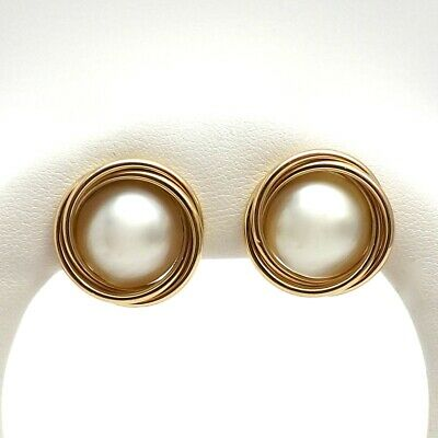 $395 • Buy 14k Gold Mabe Pearl Button Stud Earrings New 7 Grams