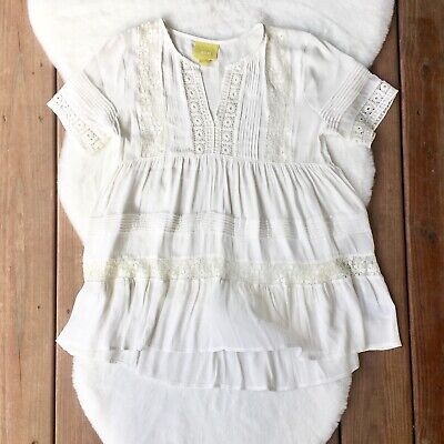 $ CDN56.78 • Buy Anthropologie Maeve Tiered White Lace Tunic Top Embroidered Boho Size Small