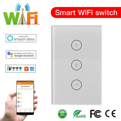 AU30.59 • Buy WiFi 3Gang Smart Home Touch Control Dimmable Light Wall Switch For Alexa &Google