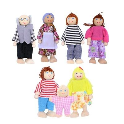 £8.58 • Buy Wooden Furniture Dolls House Family Miniature 7 People Doll Kids Toys Gift Xmas