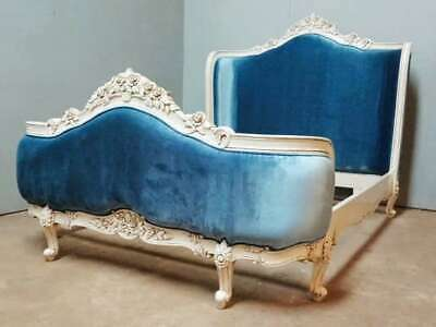 £1195 • Buy Rococo 6' Super King Antique White Blue Upholstered Mahogany French Style Bed