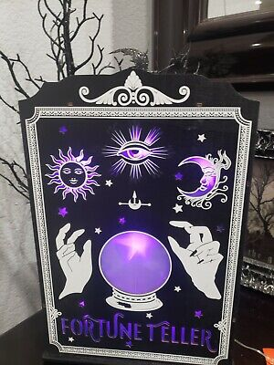Halloween Wooden Die Cut LED Light Up Crystal Ball Fortune Teller Prop New • 28.67£