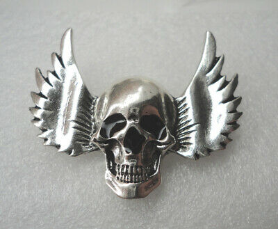 ZP135a Hot Blooded Skull Wings Biker Motorcycle Lapel Pin Badge Hardcore Brooch • 4.99£