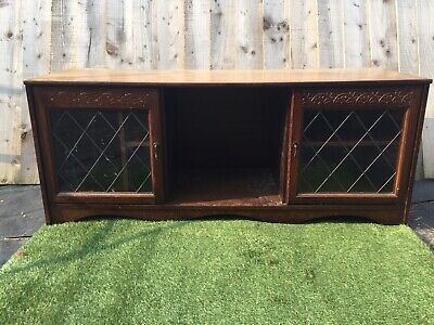 Retro Vintage Oak Tv Cabinet With Glass Cabinet Doors And Shelves 👍👍 • 20£